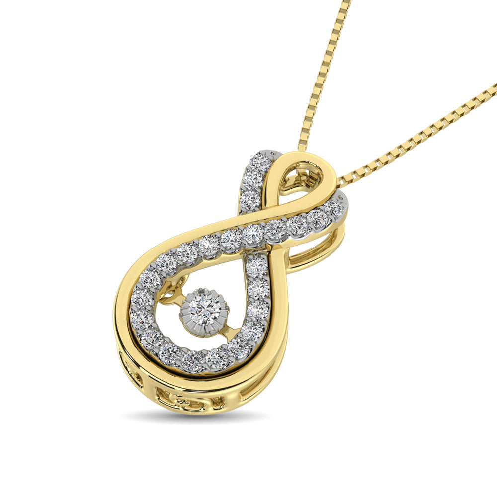 14K Yellow Gold 1/5 Ctw Diamond Infinity Pendant