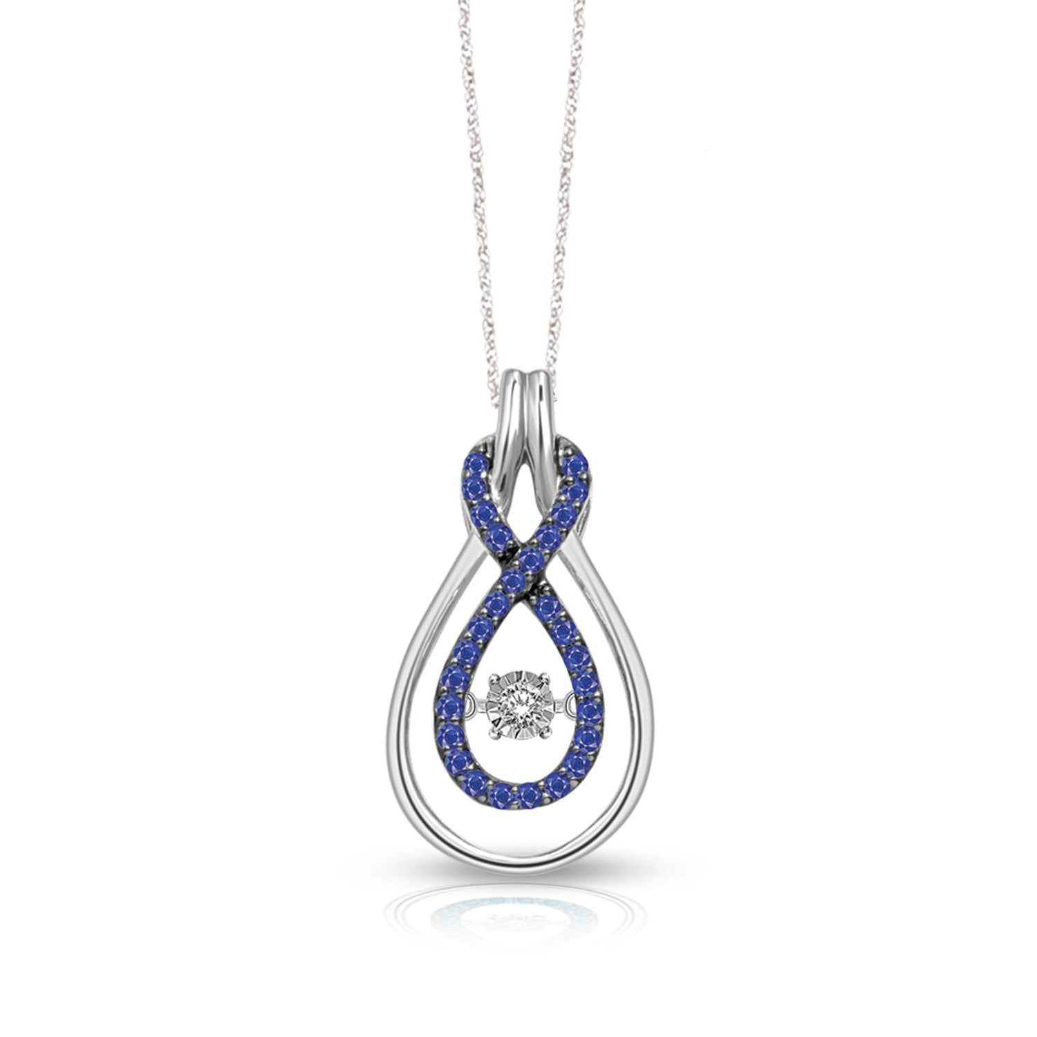 10K White Gold 1/3 Ct.Tw. Moving Diamond & Blue Sapphire Fashion Pendant
