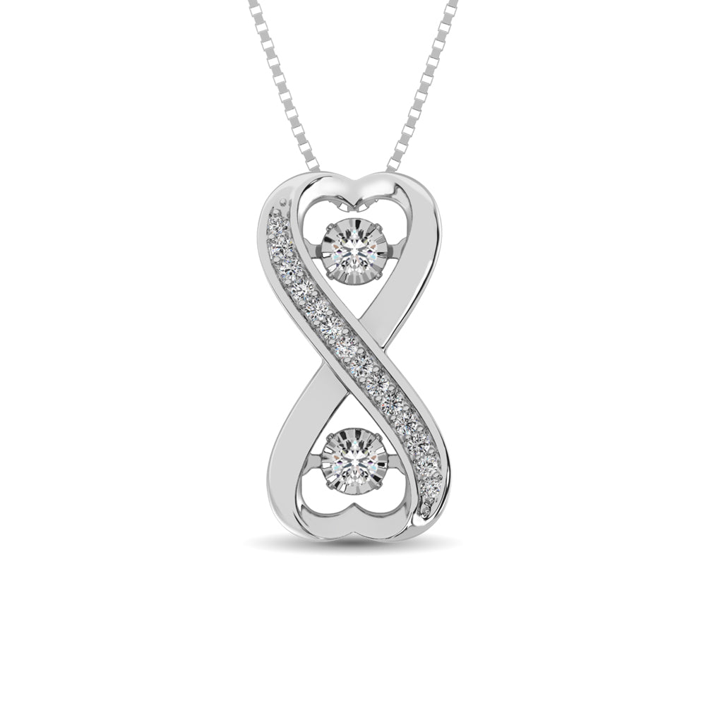 Sterling Silver 1/5 Ct.Tw.Moving Diamond Fashion Pendant