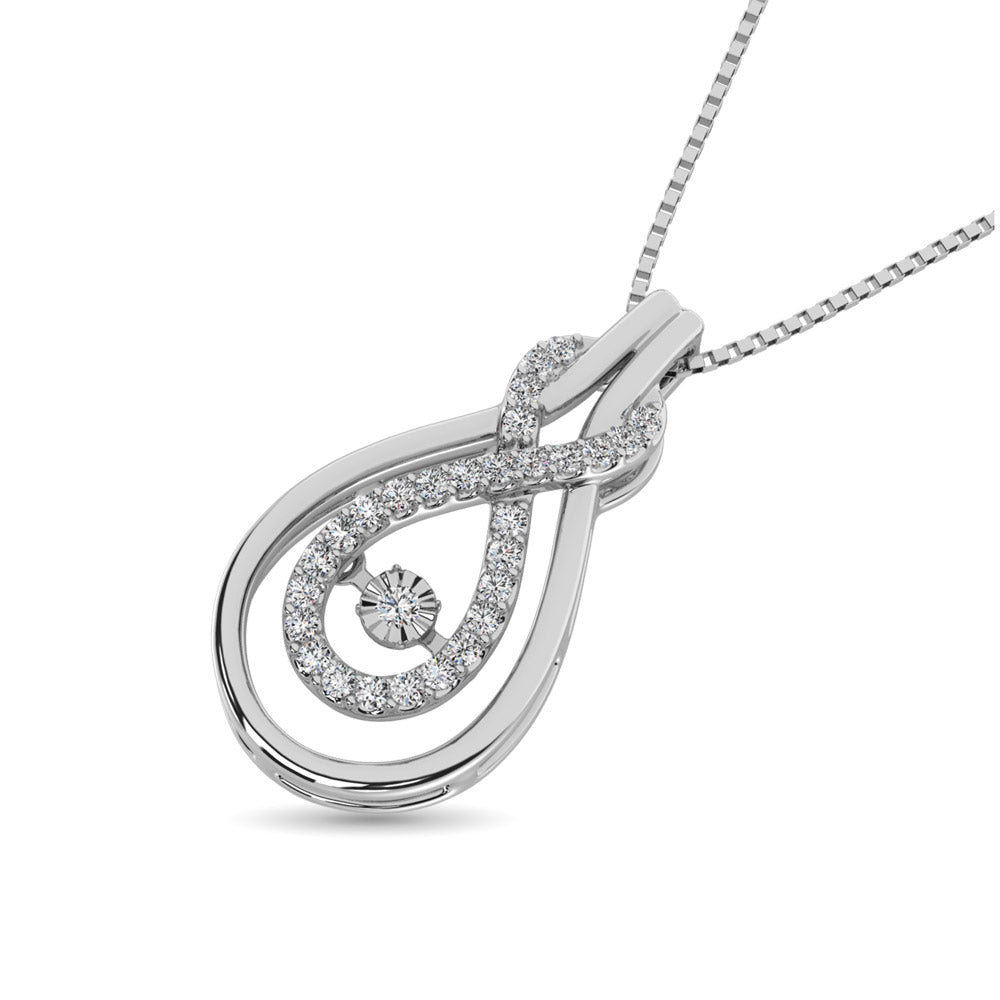 Sterling Silver 1/6 Ct.Tw.Moving Diamond Fashion Pendant