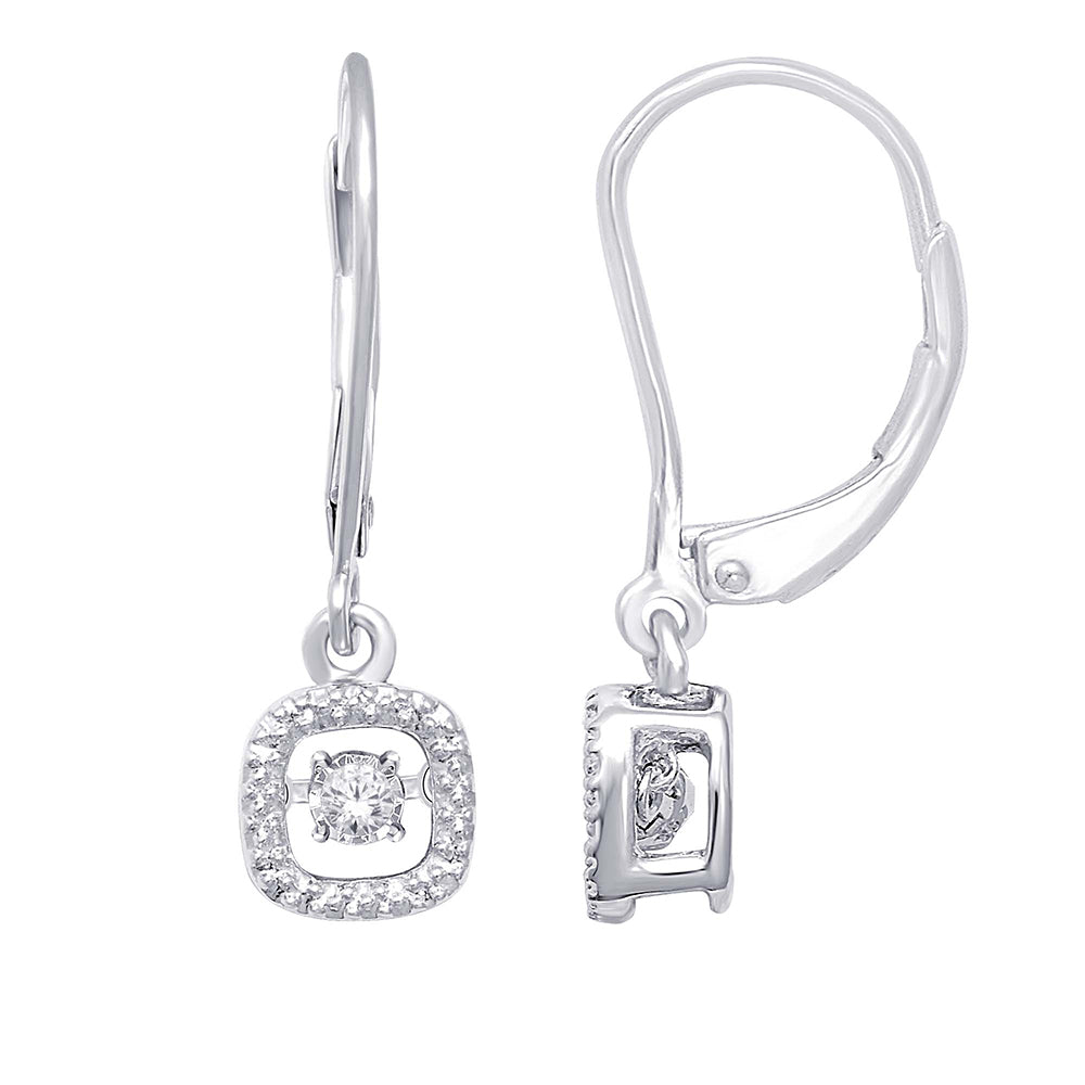 Sterling Silver 1/20 Ct.Tw. Moving Diamond Danglers Earrings