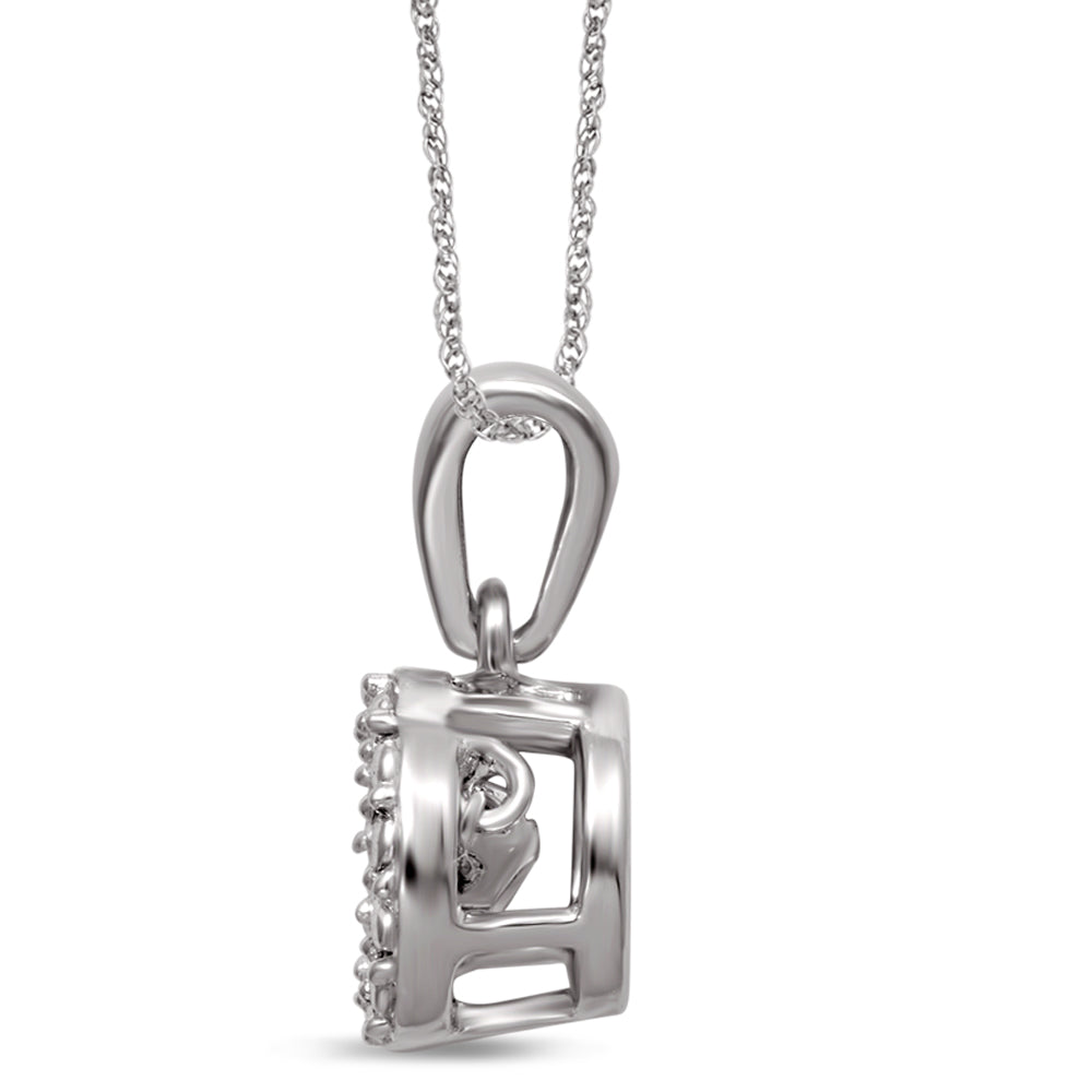 Sterling Silver Moving Diamond Accent Fashion Pendant