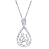 Sterling Silver 1/20 Ct.Tw. Diamond Mother And Child Pendant
