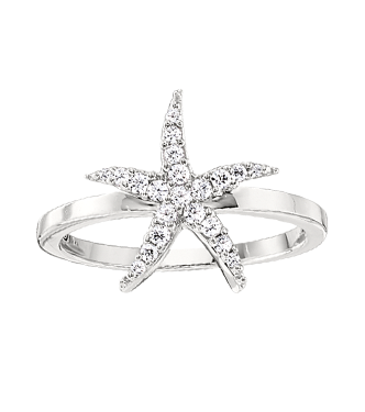 14kt White Gold Star Fish Ring