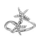 14kt White Gold  Double Star Fish Ring