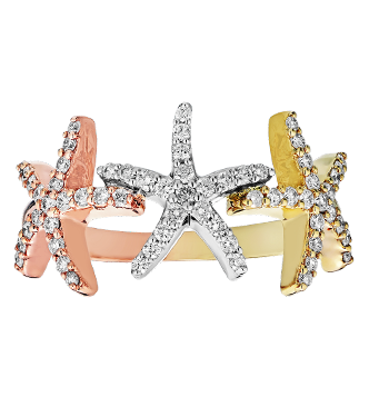 14kt Tri-Color Gold Triple Star Fish Ring