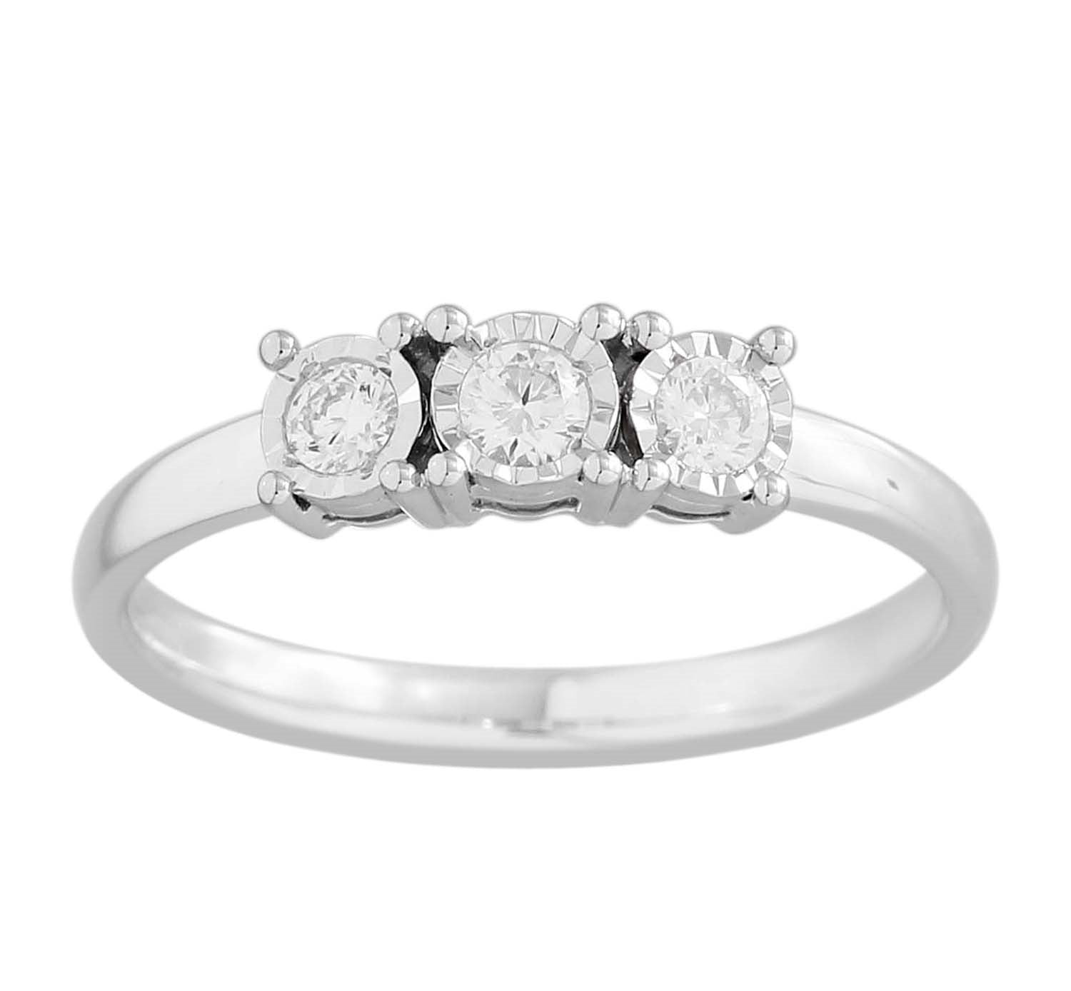 3 Stone Ring Made In 14K White Gold
