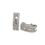 14kt Ladder style Baguette & Round Diamond Earrings