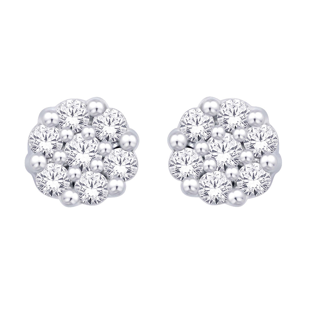 Sterling Silver 1/10 Ct.Tw. Diamond Flower Studs Earrings