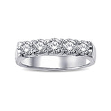 14K White Gold 1/3 Ct.Tw. Diamond 5 Stone Wedding Band