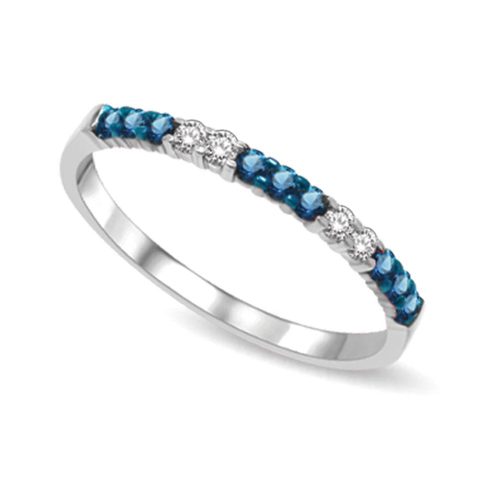 14K White Gold 1/5 Ctw White & Blue Diamond Machine Band
