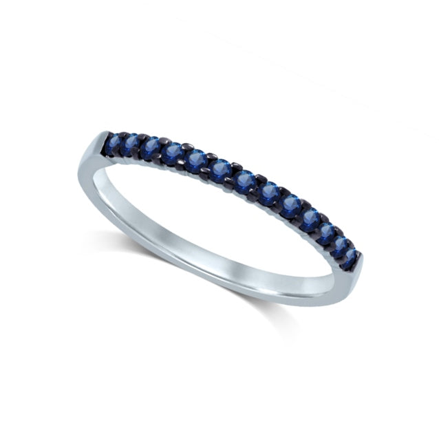 14K White Gold 1/4 Ctw Blue Sapphire Machine Band