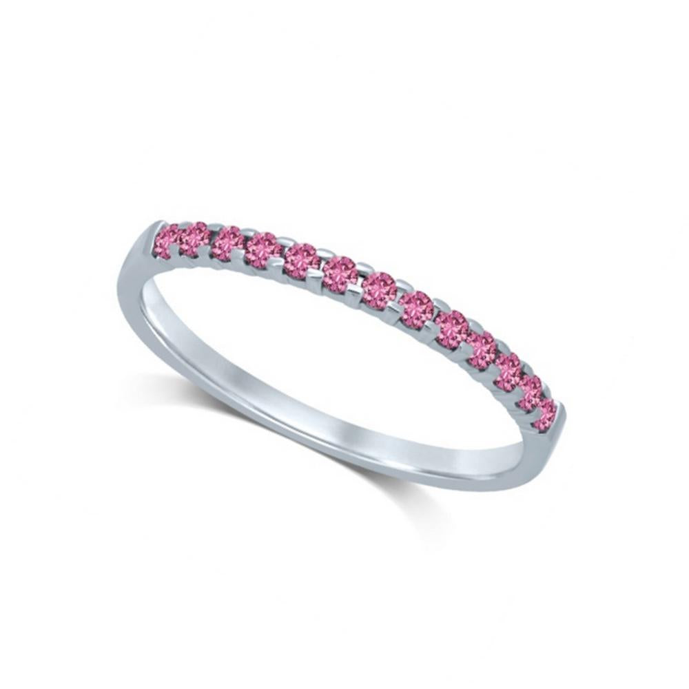 14K White Gold 1/4 Ctw Pink Sapphire Machine Band