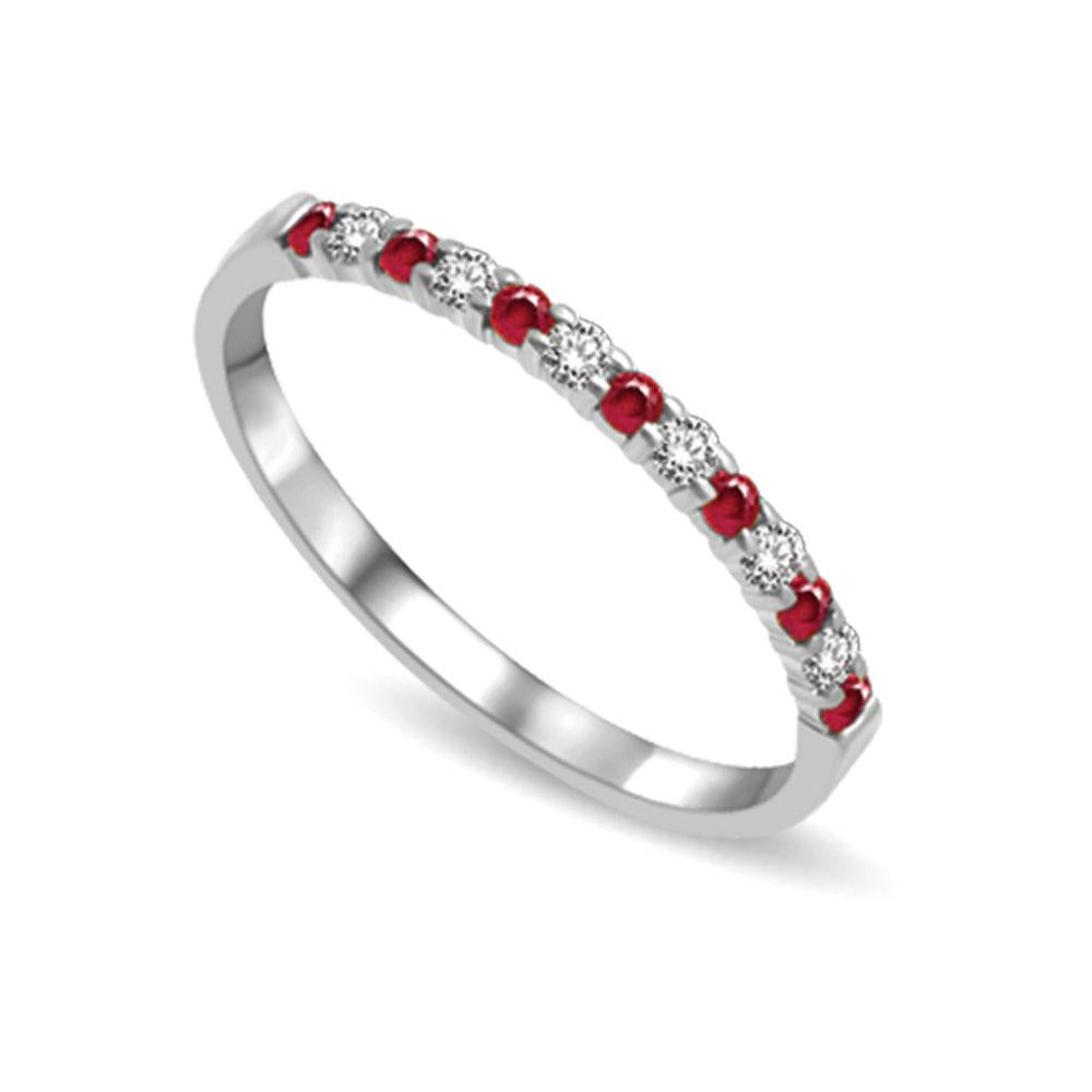 14K White Gold 1/4 Ctw Ruby & Diamond Machine Band