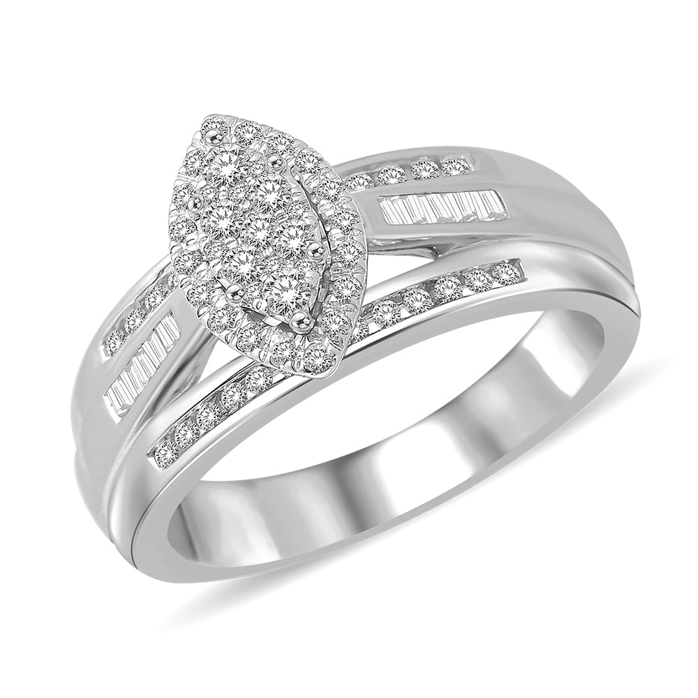Marquise Shape 1/2 Ctw Diamond Engagement Ring in Sterling Silver