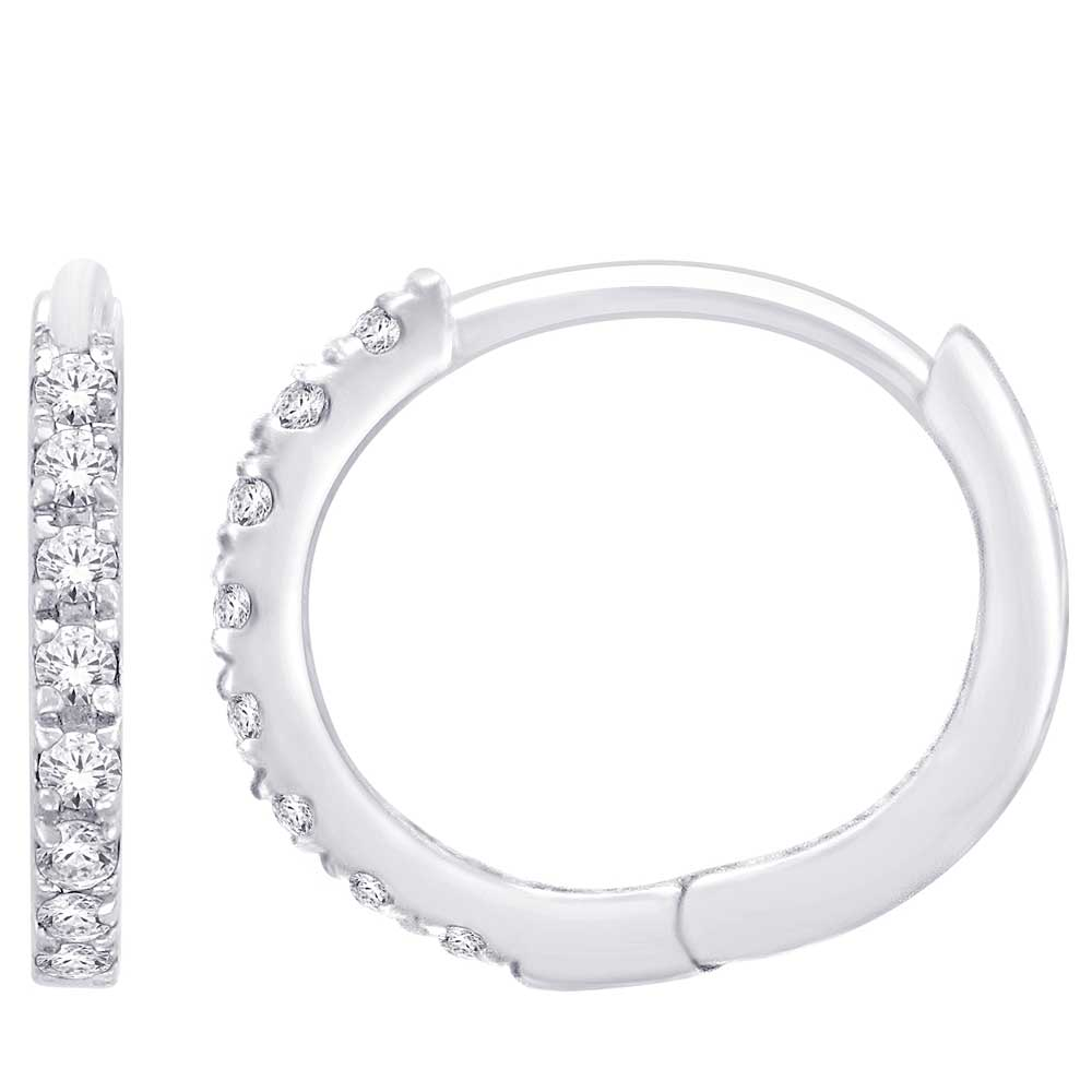 10K White Gold 1/10 Ct.Tw. Diamond Hoop Earrings
