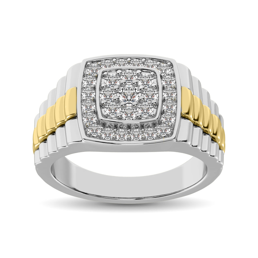10K White Gold with Accent of 10K Yellow Gold 3/4 Ct.Tw. Diamond Mens Fashion Ring