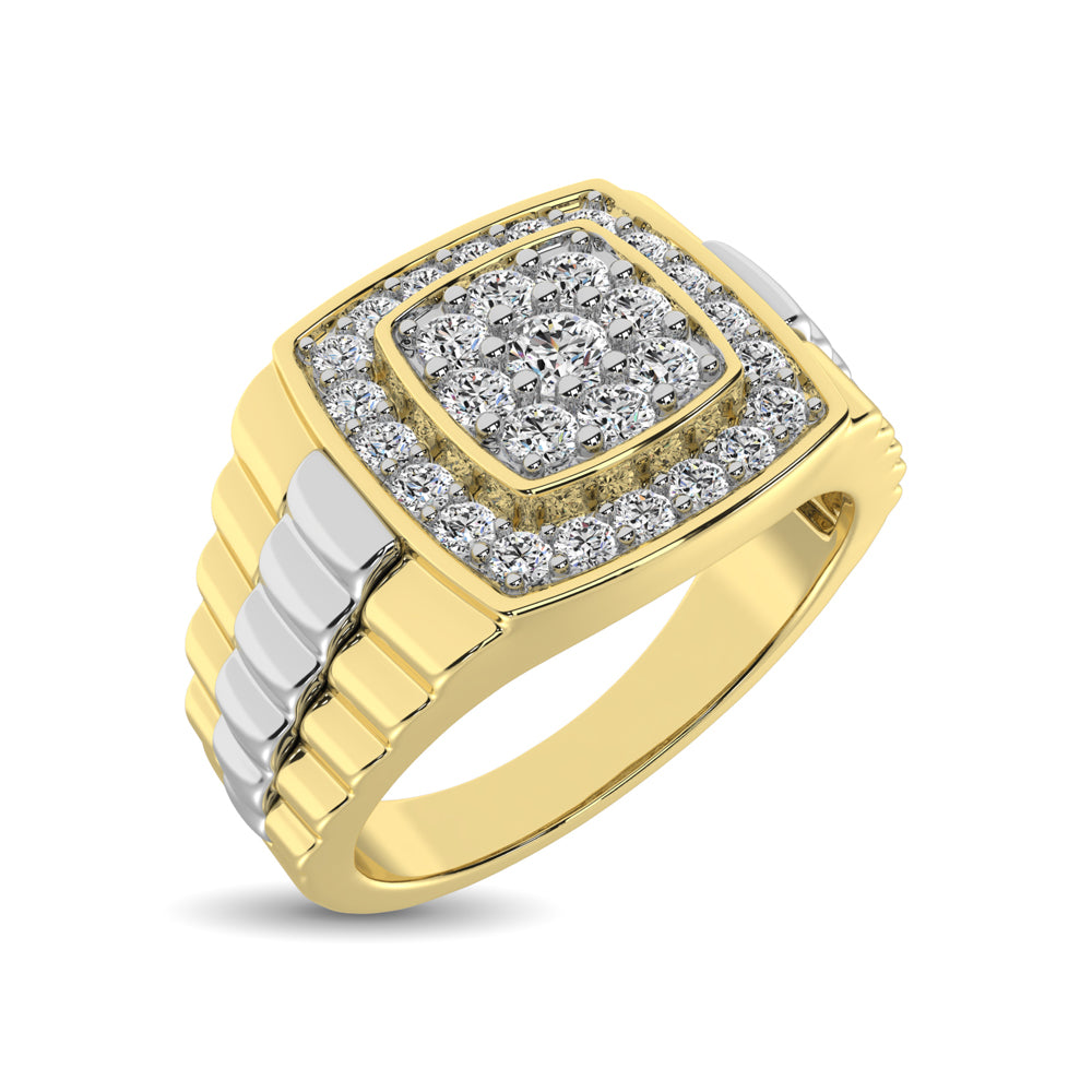 10K Yellow Gold with Accent of 10K White Gold 3/4 Ct.Tw. Diamond Mens Fashion Ring