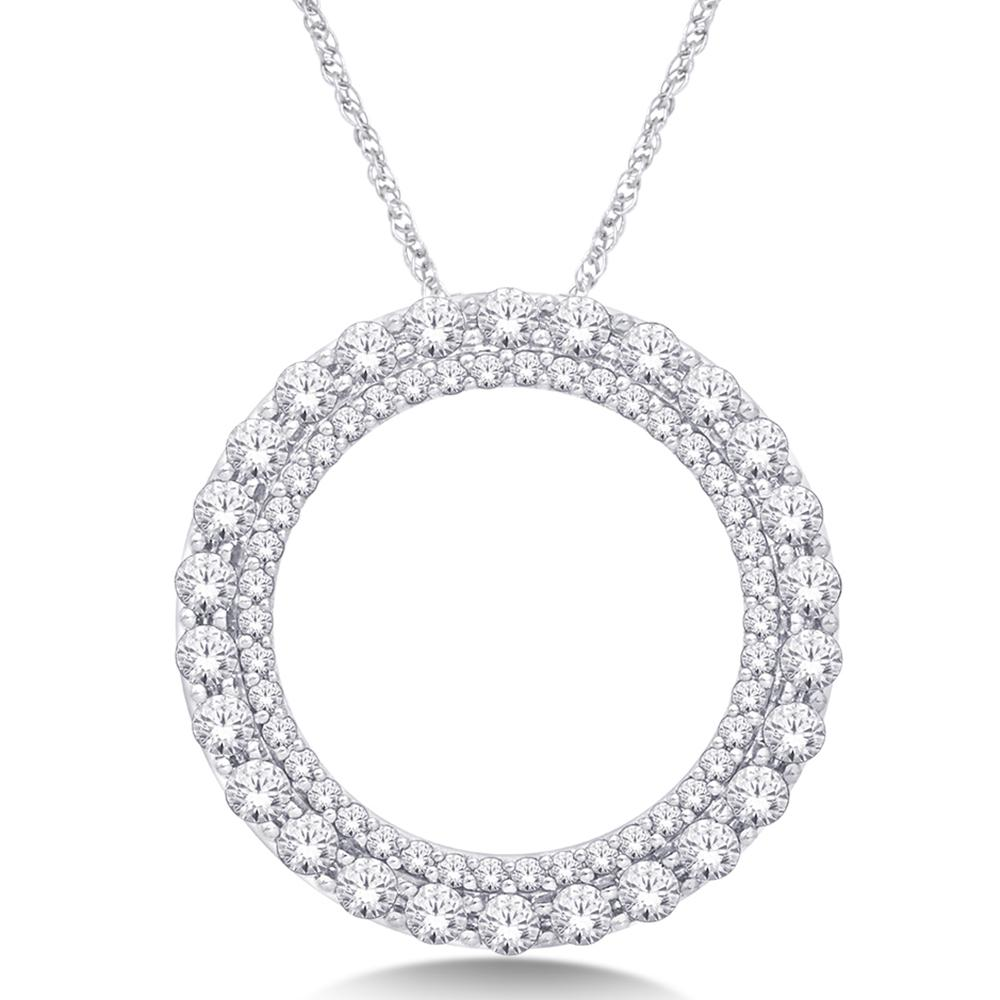 14K White Gold 3/4 Ct.Tw. Diamond Fashion Pendant