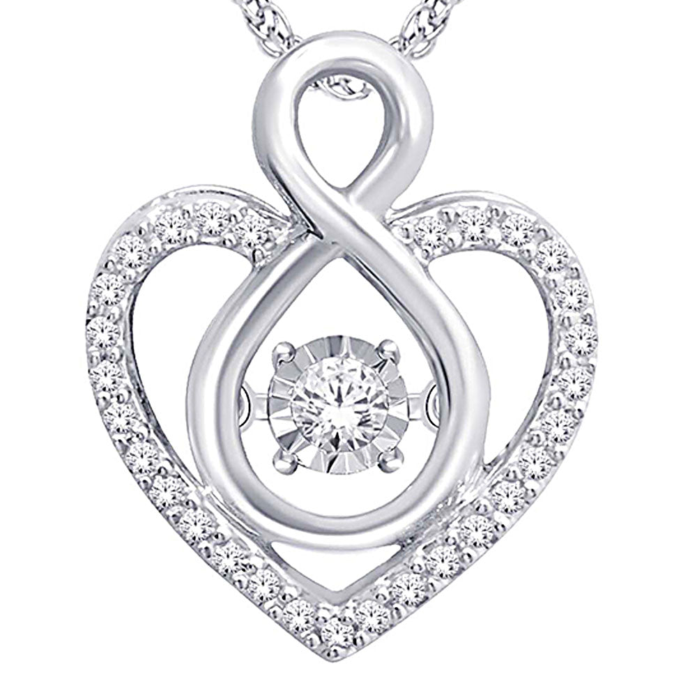 10K White Gold 1/6 Ct.Tw. Moving Diamond Heart Pendant