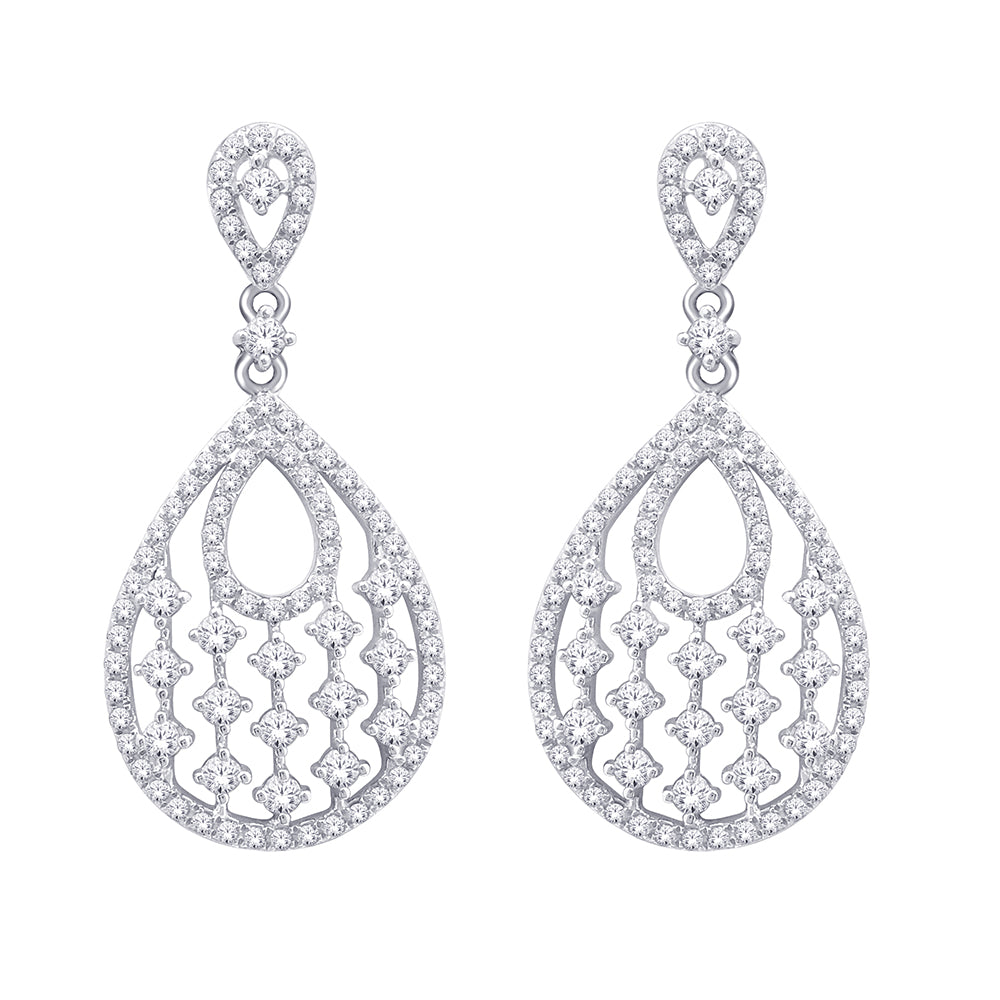 14K White Gold 9/10 Ct.Tw. Diamond Fashion Earrings