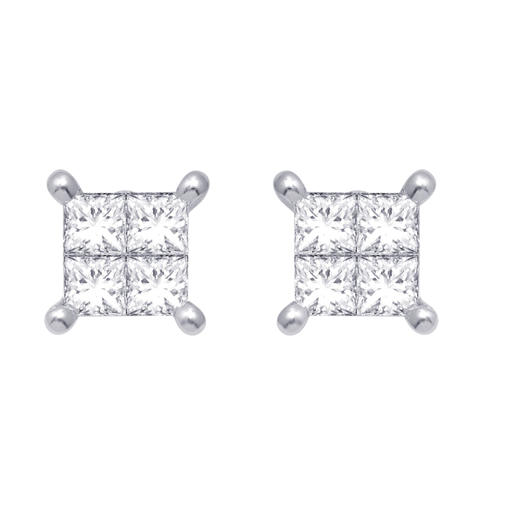 14K White Gold 1/3 Ct.Tw. Diamond Stud Earrings