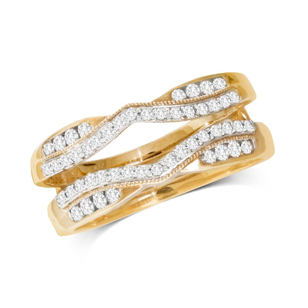 14K Yellow Gold 1/3 Ct.Tw.Diamond Guard Ring
