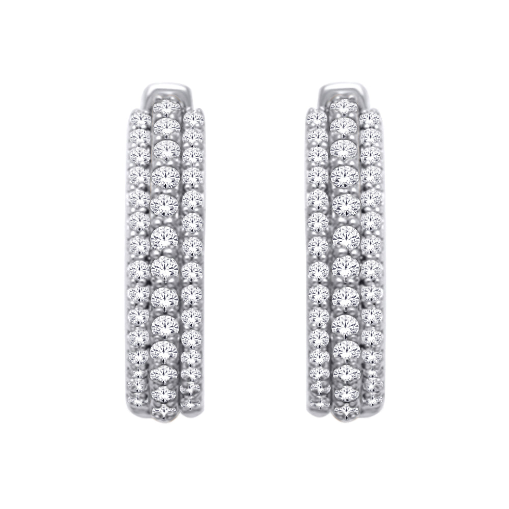 14K White Gold 1/2 Ct.Tw. Diamond Hoop Earrings