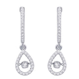 10K White Gold 2/5 Ct.Tw.Moving Diamond Fashion Earrings