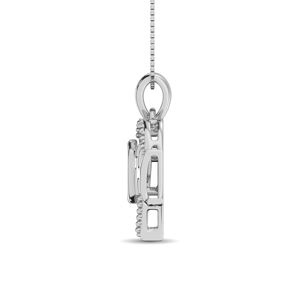 Sterling Silver Mom Moving Diamond Accent Pendant
