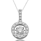 14K White Gold 1 2/5 Ct.Tw.Moving Diamond Fashion Pendant