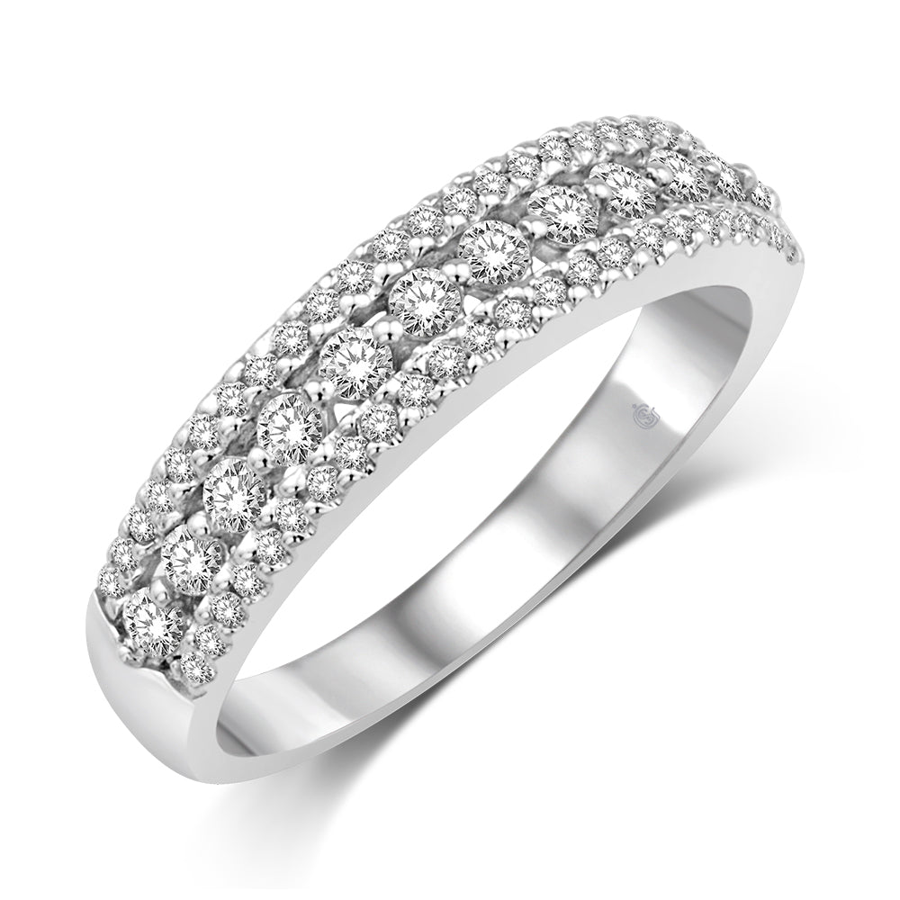 14K White Gold 1/2 Ct.Tw. Diamond Fashion Band