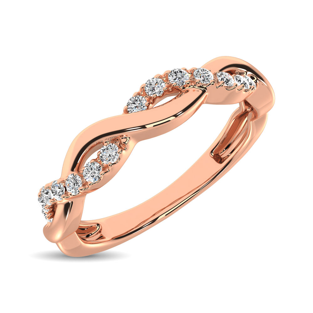 14K Rose  Gold 1/20 Ct.Tw.Diamond Wedding Band