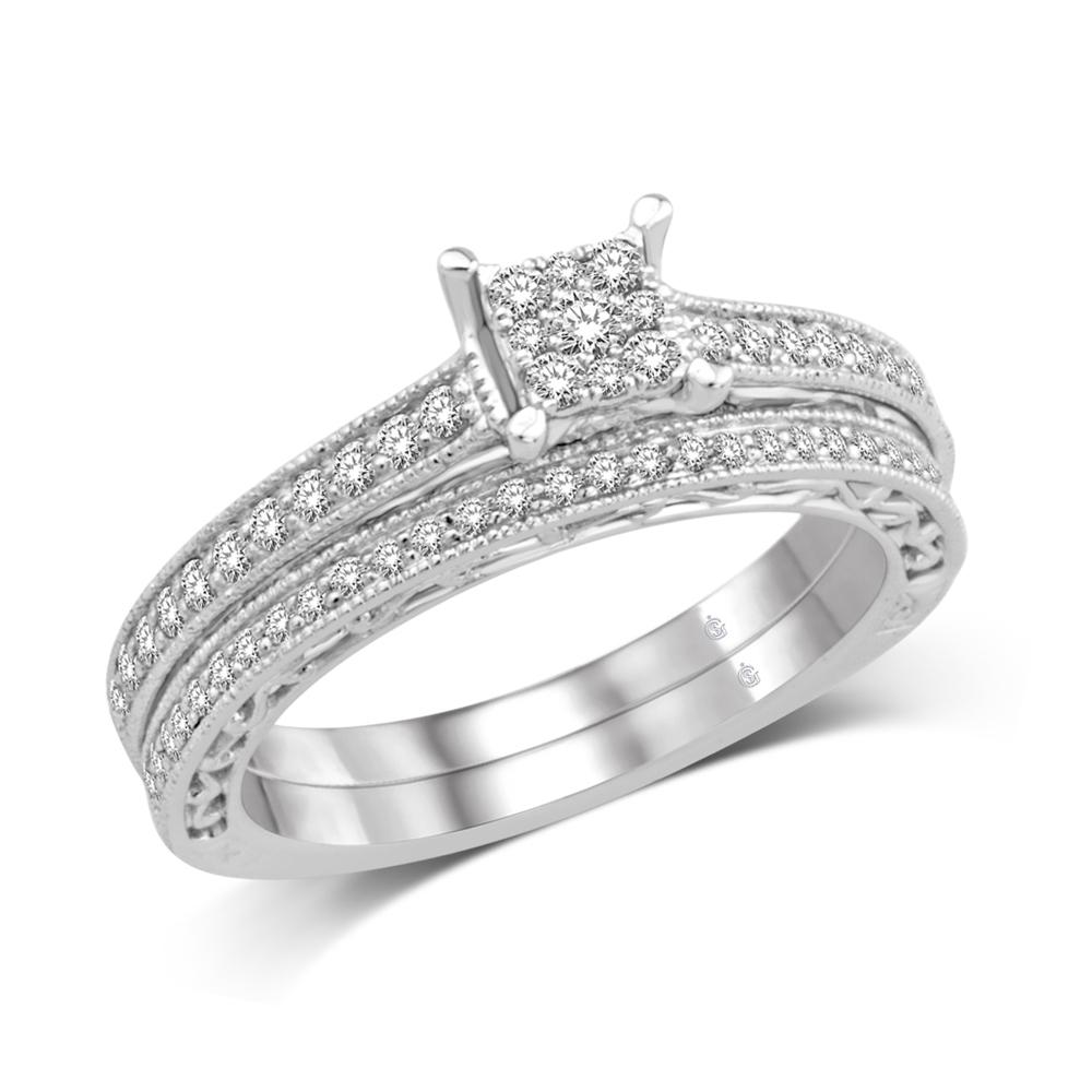 10K White Gold 1/2 Ct.Tw.Diamond Bridal Ring