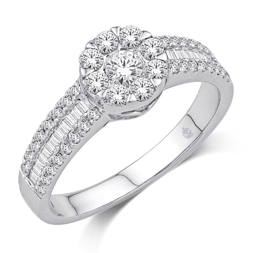 14K White Gold 3/4 Ct.Tw.Diamond Fashion Ring