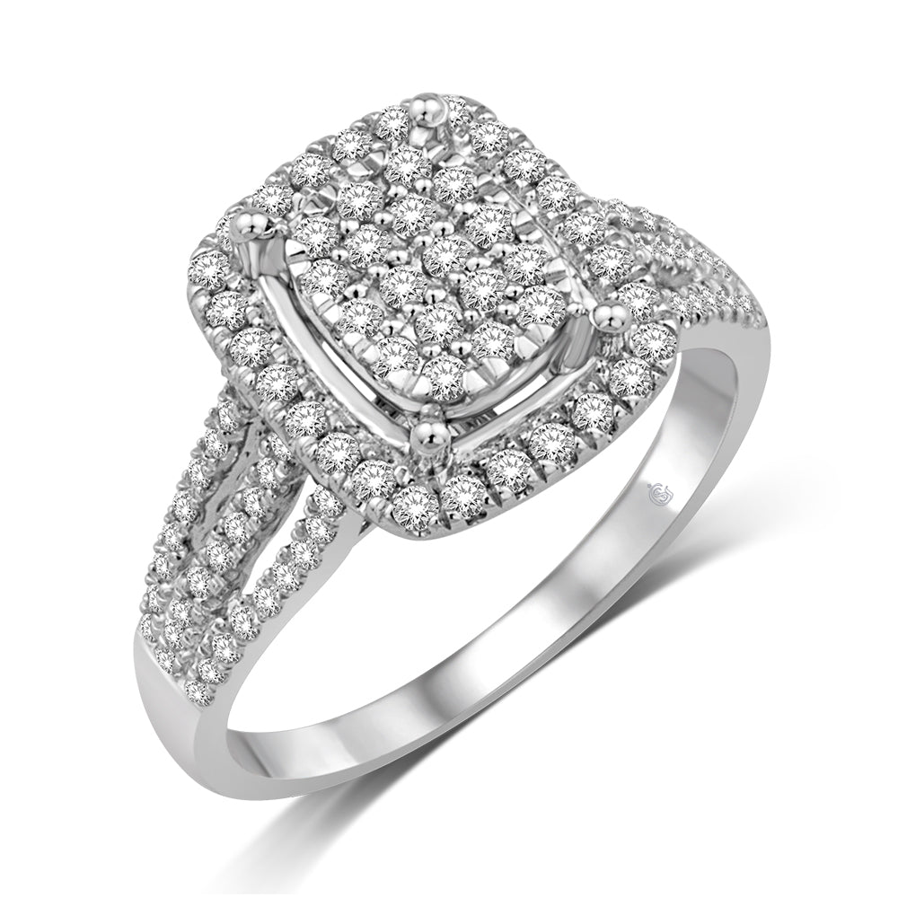 10K White Gold 5/8 Ct.Tw. Diamond Fashion Ring