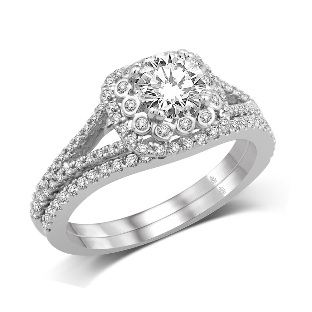 14K White Gold 1/2 Ct.Tw Engagement Ring