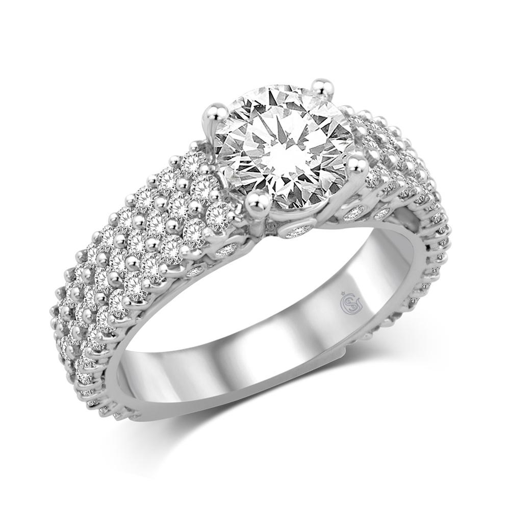 14K White Gold 1 1/2 Ct.Tw Engagement Ring
