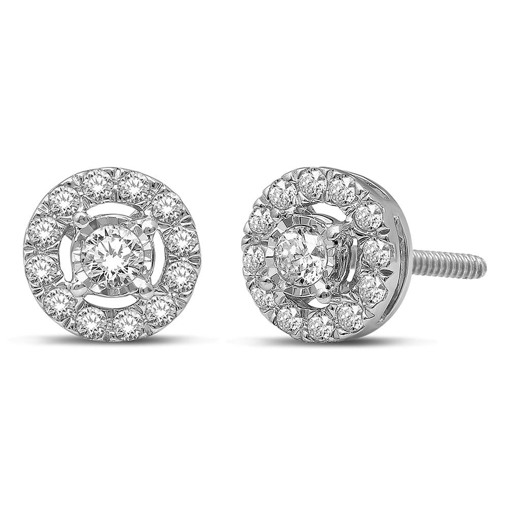 10K White Gold 1/4 Ct.Tw.Diamond Stud Earrings