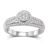 Flower Composite 1/2 Ctw Diamond Engagement Ring
