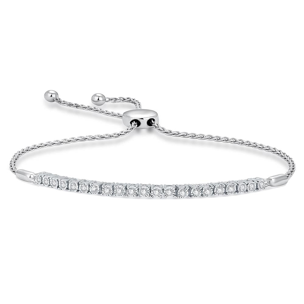 Sterling Silver 1/4 Ct.Wt. Diamond Bolo Bracelet