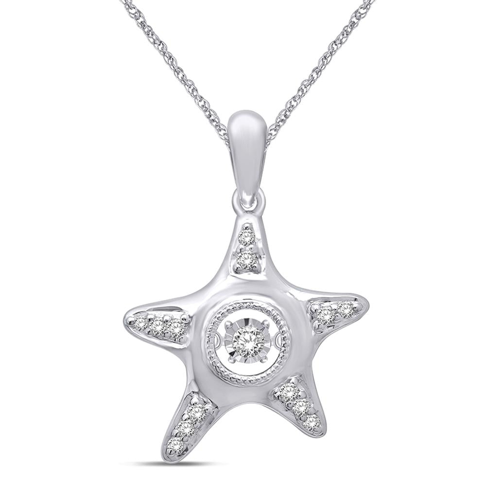 14K White Gold 1/8 Ctw Moving Diamond Sea Life Pendant