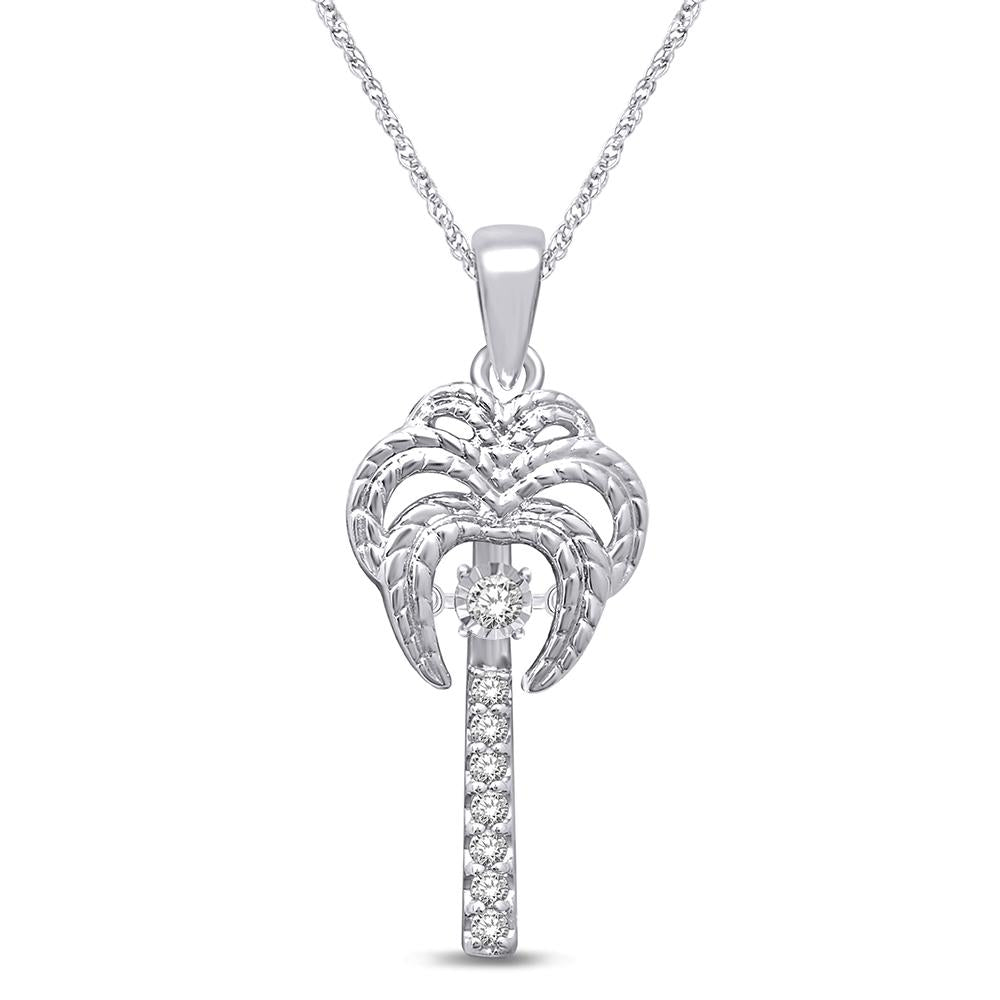 Sterling Silver 1/10 Ctw Moving Diamond Sea Life Pendant