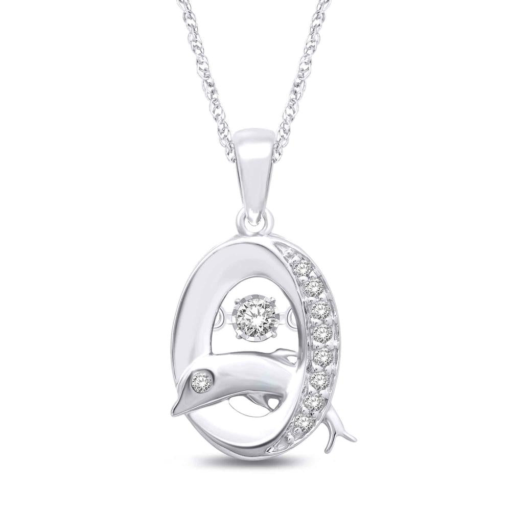 14K White Gold 1/10 Ctw Moving Diamond Sea Life Pendant