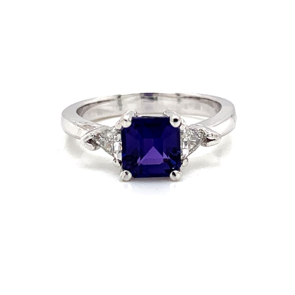 18k white gold ring with a GIA certified color changing purple sapphire