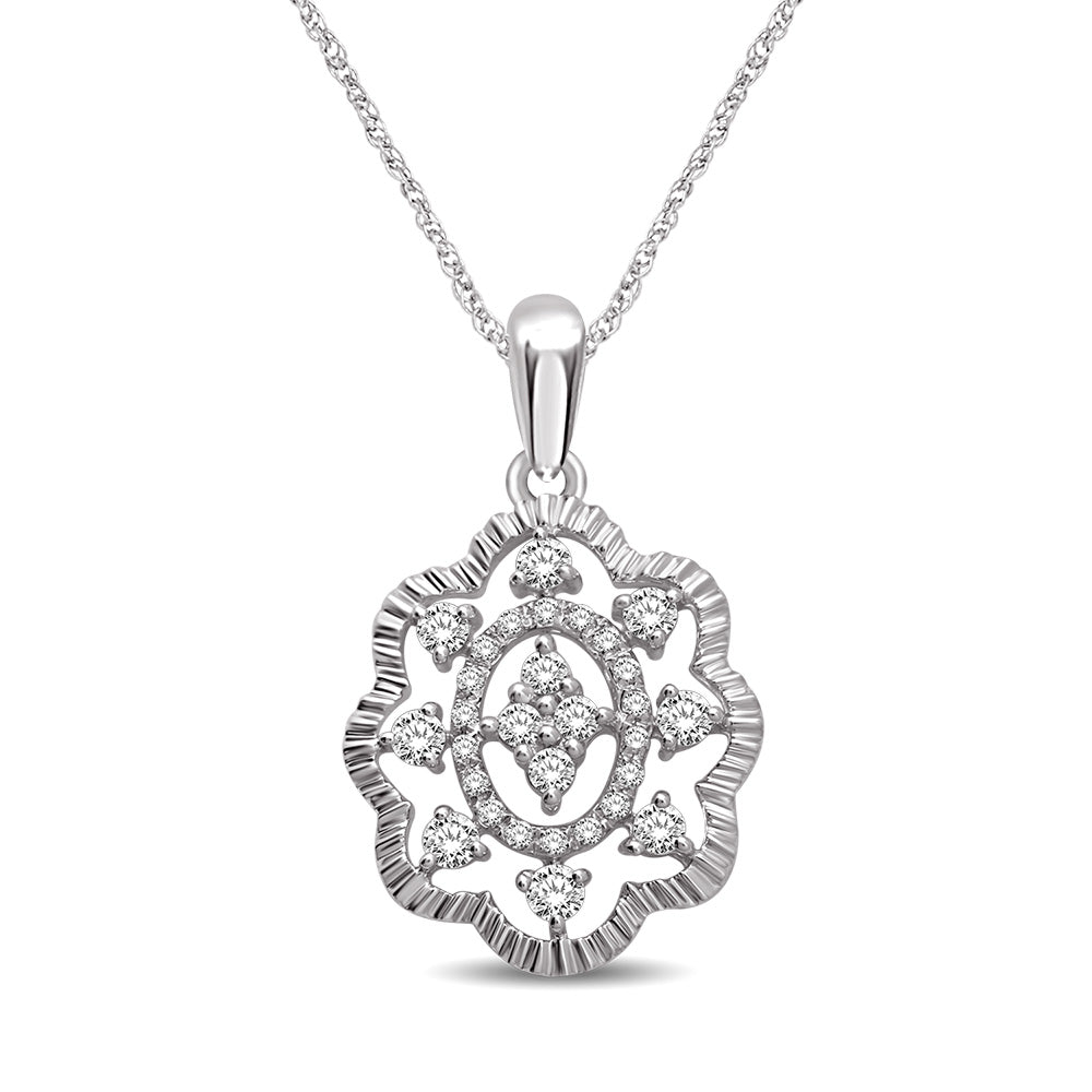 14K White Gold 1/4 Ct.Tw Diamond Fashion Pendant