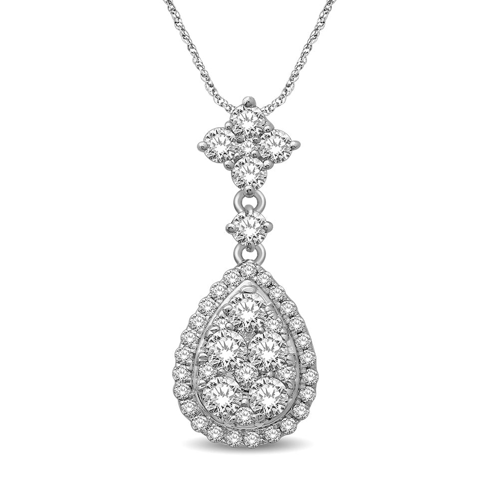14K White Gold 1/2 Ct.Tw Diamond Drop Pendant