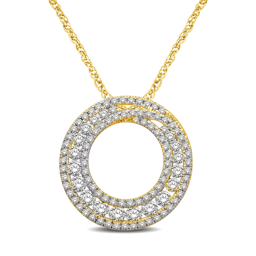 14K Yellow Gold 1 1/6 Ct.Tw Diamond Circle Pendant