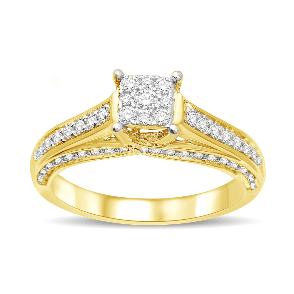 14K Yellow Gold 1/2 Ct.Tw Diamond Engagement Ring