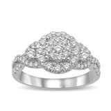 14K White Gold 7/8 Ct.Tw Diamond Enagagement Ring